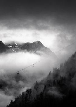 Penkenbahn Mayrhofen Schwarz Weiß Nebel