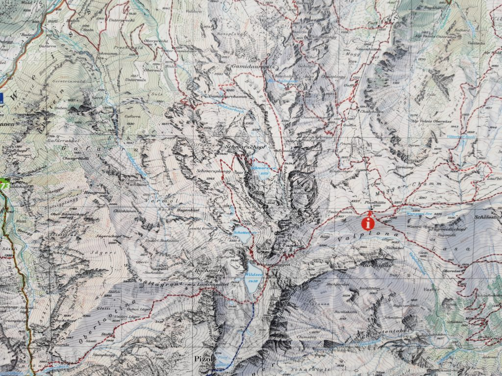 Wanderkarte 5 Seen wanderung Pizol
