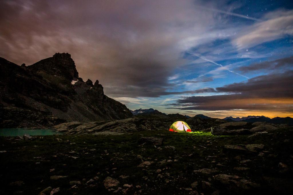 Nacht Langzeitbelichtung Pizol Schweiz MSR Zelt